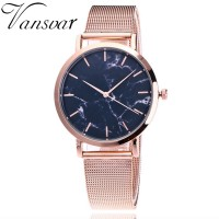 Silver And Gold Mesh Band Creative Marble Wrist Watch Casual Women Quartz Watches Gift freeship 15 days
