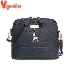 New female bags quality pu leather soft face bag shoulder messenger bag Quilted bag pendant cute deer freeship 15 days