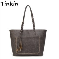 Tassel Vintage PU Women Shoulder Bag Female Retro Daily Causal Totes Lady Elegant Shopping Handbag freeship 15 days