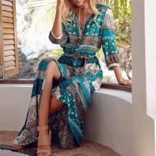 Maxi Dresses Bohemia V-neck Women Three Quarter Sleeve Floral Print Female Split Stylish Style Dress freeship 14 days