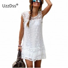 Mini Lace Dress Women Casual Short Dress Tassel Black White Sexy Party Dresses Vestidos freeship 15 days