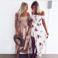 Boho style long dress women Off shoulder dresses Floral print Vintage chiffon white maxi dress vestidos de festa freeship 15days
