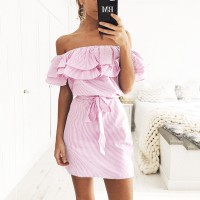 Off Shoulder Strapless Striped Ruffles Dress Women Casual Shirt Short Mini Party Dresses Robe Femme freeship 14 days