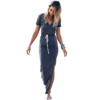 Personality Slender Waist Line maxi Women Dress Short sleeve tie waist pencil long dress casual slit freeship 14 days