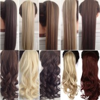 Long Curly Clip In Hair Tail False Hair Ponytail Hairpiece With Hairpins Synthetic Hair Pony Tail Hair Extension freeship 14 days