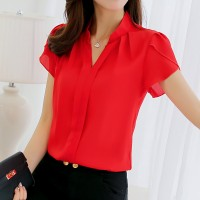 Hot Female Shirt all Sizes Short Sleeve Shirt Fashion Bodycon Leisure Chiffon Blouse Tops freeship 14 days