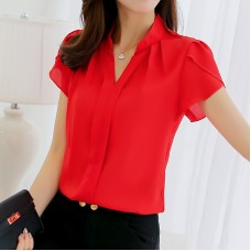 Hot Female Shirt all Sizes Short Sleeve Shirt Fashion Bodycon Leisure Chiffon Blouse Tops freeship 14 days