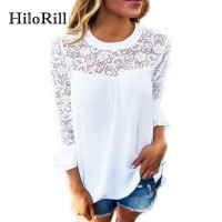 Women Blouse Casual Flare Sleeve Lace Patchwork Chiffon Shirt Lace Crochet Top freeship 14 days