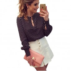 Women Tops Casual O-Neck Long Sleeves Blouses Chiffon Polka Dots Shirt freeship 14 days