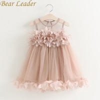 Girls Dress Mesh Pink Applique Princess Dress Children Baby Girls Dress freeship 14 days