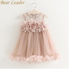 Girls Dress Mesh Pink Applique Princess Dress Children Baby Girls Dress freeship 14 days