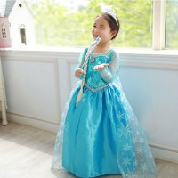 Dresses Girls Princess Anna Elsa Cosplay Costume Kid's Party Dress Kids Girls Clothes freeship 14 days
