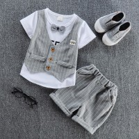 children handsome clothing kids T-shirt with vest+ pant 2Pcs/set boys fashion sets freeship 14 days
