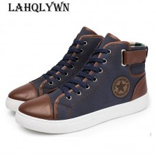 Leather Men Causal Shoes Front Lace-Up Ankle Boots High Top Canvas Men freeship 14 days
