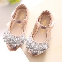 Heart Rhinestone Girls Princess Shoes Gold Pink Sliver Leather Kids Shoes freeship 14 days