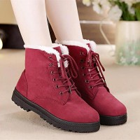 Snow boots classic heels suede women winter boots warm fur plush Insole ankle boots hot lace-up freeship 14 days