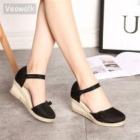 Women Canvas Sandals Casual Linen Wedge Ankle Strap Med Heel Platform freeship 14 days
