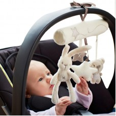 Rabbit baby hanging bed safety seat plush toy Hand Bell Stroller Mobile Gifts freeship 14 days