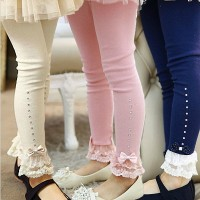 girls pink blue beige lace trim ruffle rhinestone leggings 3T to 11T kids princess cotton freeship 14 days