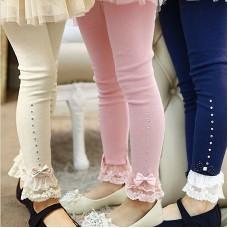 girls pink blue beige lace trim ruffle rhinestone leggings 3T to 11T kids princess cotton freeship 14 days