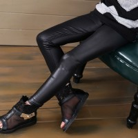 Girls faux leather leggings high quality slim leggings kids High elasticity skinny pants freeship 14 days