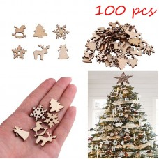 100pcs Natural wooden DIY Christmas tree Hanging Ornaments Pendant Gifts Tree Snow Flakes Table Bottle freeship 14 days
