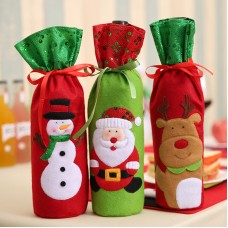 Wine Bottle Bags Christmas Decorations Santa Claus Snowman Champagne Sequins Holders freeship 14 days