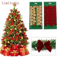 12PCS Pretty Bow Xmas Ornament Christmas Tree Decoration Festival Home New Year decor freeship 14 days