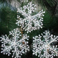30pcs/lot 11cm Christmas Ornament White Plastic Snowflake Tree Window Decorations freeship 14 days
