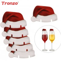 Hats Christmas Decoration 30pcs Santa Claus Hats Paper Wineglass Card Christmas Ornaments Wine Glass freeship 14 days