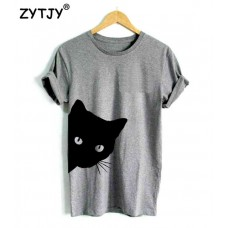 cat looking out side Print Women tshirt Cotton Casual Lady Girl Top Tee freeship 14 days
