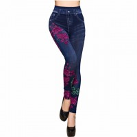 Fashion Slim Women Spring Summer Leggings Faux Denim Jeans Leggings Long Floral Printing Casual Pencil Pants Thin Fleece Inside