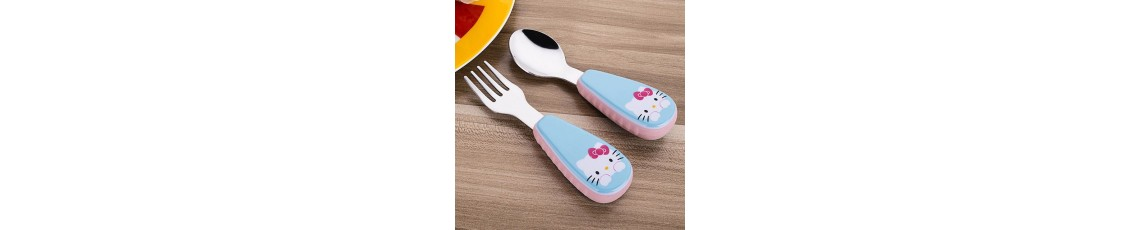 2pcs/ Set Children Spoon Portable Kids Stainless Steel Fork