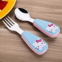 2pcs/ Set Children Spoon Portable Kids Stainless Steel Fork Safety Baby Feeding Spoon Eating Training Spork Infant Tableware