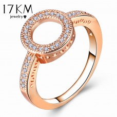 17KM Fashion Female Round Finger Rings For Women Lover Wedding Jewelry Party Trendy Rose Gold Sliver Color Ring Wholesale, Free Ship 30-50 days