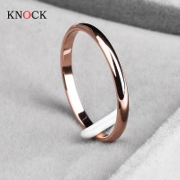 Titanium Steel Rose Gold Anti-allergy Smooth Simple Wedding Couples Rings for Man or Woman Gift freeship 15-60day