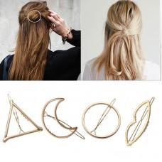 Fashion Woman Hair Triangle Hair Clip Pin Metal Geometric Alloy Hairband Moon Circle Hairgrip Barrette Girls Holder Freeship 20 days