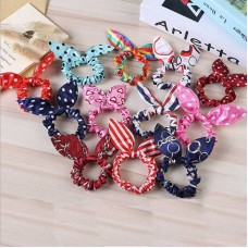 Rabbit Ears Hair Band Children Kids Hair Scrunchies Elastic Hair Band For Women Girl Rubber Band Polka Dot Hair Rope freeship 30days