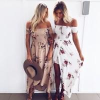Boho style long dress women Off shoulder dresses Floral print Vintage chiffon white maxi dress vestidos de festa freeship 15days