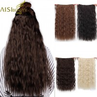 """Long Clips in Hair Extension Synthetic Natural Hair Water Wave Blonde Black 22"""" For Women Heat Resistant freeship 15 days"""