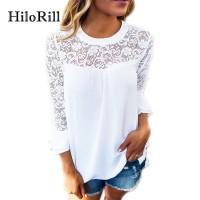 Women Blouse Casual Flare Sleeve Lace Patchwork Chiffon Shirt Lace Crochet Top freeship 14 days