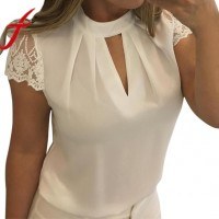 Women Sexy Chiffon Blouses Summer Casual Hollow Short Sleeve Splice Lace Tops Blouse freeship 14 days