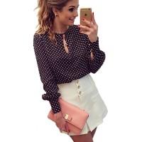 Women Tops Casual O-Neck Long Sleeves Blouses Chiffon Polka Dots Shirt freeship 14 days