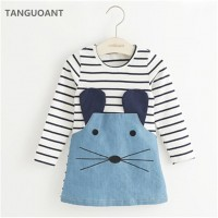Striped Patchwork Character Girl Dresses Long Sleeve Cute Mouse Children Clothing Kids Denim freeship 14 days