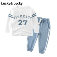 Tracksuit for boys clothing kids sports suit for boys,  girls striped and letter printed t-shirt and pants freeship 14 days