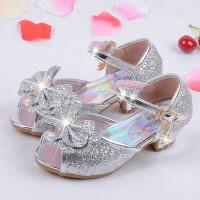 Children's Mules Clogs Shoes Princess Sandals Girls Shoes High Heels Leather Bowtie Dress freeship 14 days