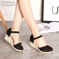 Women Canvas Sandals Casual Linen Wedge Ankle Strap Med Heel Platform freeship 14 days