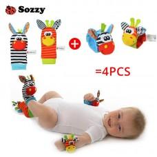Cartoon 4 piece Zebra New Baby Infant Soft Wrist Rattle Set Educational Gift Children Boy Girl freeship 14 days