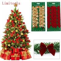 12PCS Pretty Bow Xmas Ornament Christmas Tree Decoration Festival Home New Year decor freeship 14 days