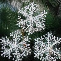 30pcs/lot 11cm Christmas Ornament White Plastic Snowflake Tree Window Decorations freeship 14 days